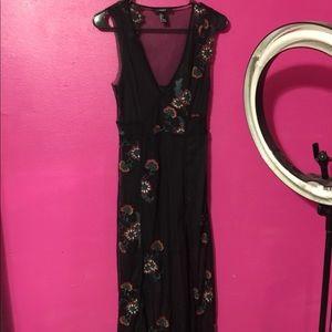 Forever 21 flower sheer long dress
